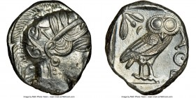 ATTICA. Athens. Ca. 440-404 BC. AR tetradrachm (25mm, 17.20 gm, 1h). NGC MS 2/5 - 3/5. Mid-mass coinage issue. Head of Athena right, wearing crested A...