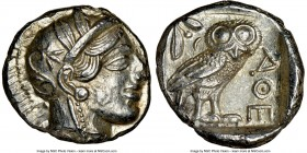 ATTICA. Athens. Ca. 440-404 BC. AR tetradrachm (24mm, 17.22 gm, 11h). NGC Choice AU 4/5 - 5/5. Mid-mass coinage issue. Head of Athena right, wearing c...
