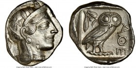 ATTICA. Athens. Ca. 440-404 BC. AR tetradrachm (26mm, 17.20 gm, 6h). NGC Choice AU 5/5 - 3/5, brushed. Mid-mass coinage issue. Head of Athena right, w...