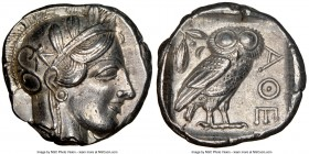 ATTICA. Athens. Ca. 440-404 BC. AR tetradrachm (24mm, 17.15 gm, 7h). NGC AU 5/5 - 4/5. Mid-mass coinage issue. Head of Athena right, wearing crested A...