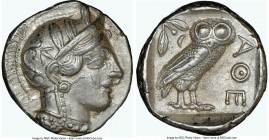 ATTICA. Athens. Ca. 440-404 BC. AR tetradrachm (25mm, 17.19 gm, 6h). NGC AU 5/5 - 4/5. Mid-mass coinage issue. Head of Athena right, wearing crested A...