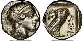 ATTICA. Athens. Ca. 440-404 BC. AR tetradrachm (24mm, 17.20 gm, 7h). NGC AU 5/5 - 4/5, brushed. Mid-mass coinage issue. Head of Athena right, wearing ...