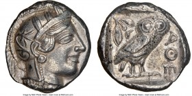 ATTICA. Athens. Ca. 440-404 BC. AR tetradrachm (25mm, 17.18 gm, 1h). NGC AU 5/5 - 3/5. Mid-mass coinage issue. Head of Athena right, wearing crested A...