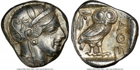 ATTICA. Athens. Ca. 440-404 BC. AR tetradrachm (24mm, 17.20 gm, 3h). NGC AU 4/5 - 4/5. Mid-mass coinage issue. Head of Athena right, wearing crested A...