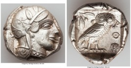 ATTICA. Athens. Ca. 440-404 BC. AR tetradrachm (25mm, 17.20 gm, 2h). AU. Mid-mass coinage issue. Head of Athena right, wearing crested Attic helmet or...