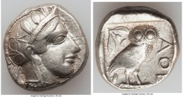 ATTICA. Athens. Ca. 440-404 BC. AR tetradrachm (25mm, 17.19 gm, 9h). Choice VF. Mid-mass coinage issue. Head of Athena right, wearing crested Attic he...