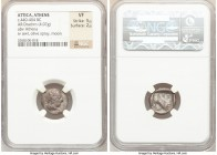ATTICA. Athens. Ca. 450-404 BC. AR drachm (16mm, 4.07 gm, 9h). NGC VF 5/5 - 2/5. Head of Athena right, wearing crested Attic helmet ornamented with th...