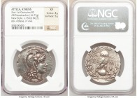 ATTICA. Athens. Ca. 2nd-1st centuries BC. AR tetradrachm (33mm, 16.77 gm, 1h). NGC XF 4/5 - 5/5. New Style issue, 153/2(?) BC. Head of Athena right, w...