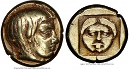 LESBOS. Mytilene. Ca. 454-427 BC. EL sixth-stater or hecte (11mm, 3h). NGC VF, brushed. Head of Actaeon right, with wavy hair, stag horn sprouting fro...