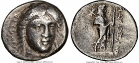 CARIAN SATRAPS. Maussollus (377-353 BC). AR drachm (16mm, 12h). NGC Choice Fine. Laureate head of Apollo facing, turned slightly right, hair parted in...
