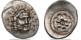 CARIAN ISLANDS. Rhodes. Ca. 84-30 BC. AR drachm (27mm, 4.17 gm, 12h). NGC Choice AU 5/5 - 4/5. Radiate head of Helios facing, turned slightly right, h...