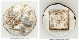 LYCIAN LEAGUE. Cragus. Ca. 32-30 BC. AR hemidrachm (15mm, 1.88 gm, 1h). AU. Series 4. Head of Apollo right, wearing taenia, bow and quiver over left s...