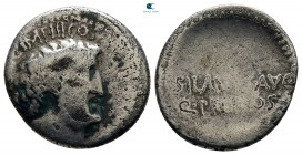 Mark Antony 32-31 BC. With M. Junius Silanus, quaestor pro consule. Military mint moving with M.Antony. Denarius AR