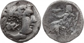 KINGS OF MACEDON. Alexander III 'the Great' (336-323 BC). Drachm. Kolophon. Obv: Head of Herakles right, wearing lion skin; c/m: head of Apollo and mo...