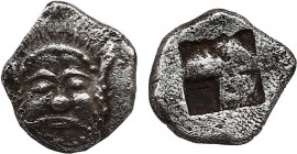 Lesbos, Methymna AR Hemiobol. (Circa 500/480-460 BC). Obv:Facing head of Silenos. Rev: Quadripartite incuse square. CNG e392, 264; CNG 94, 484; CNG 86...