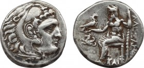 KINGS OF MACEDON. Alexander III 'the Great' (336-323 BC). Drachm. Lampsakos. Obv: Head of Herakles right, wearing lion skin. Rev: AΛΕΞΑΝΔΡΟΥ. Zeus sea...