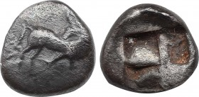 Thraco-Macedonian Tribes, uncertain mint AR Obol. Circa 5th century BC. Obv: Horse standing right with head reverted. Rev: Quadripartite incuse square...