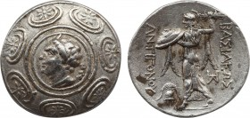 KINGS OF MACEDON. Antigonos II Gonatas. (277/6-239 BC). Tetradrachm. Pella. Obv: Macedonian shield with head of Pan right on boss. Rev: ΒΑΣΙΛΕΩΣ / ΑΝΤ...