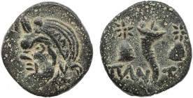 KINGS OF BOSPORUS. Pantikapaion (Circa 200-150 BC). Ae Obv: Bearded head of satyr left. Rev: Cornucopiae between piloi of the Dioskouroi; ΠΑΝ-ΤΙ acros...