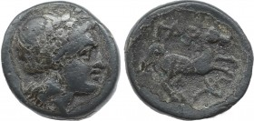 TROAS. Gargara. Ae (Circa 400-284 BC). Obv: Laureate head of Apollo right. Rev: ΓAP. Horse prancing right. Control: torch. SNG von Aulock 1510 var. (c...
