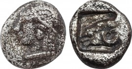 TROAS. Kebren. Obol (5th century BC). Obv: Archaic head (Apollo?) left. Rev: Head of ram left within incuse square. Cf. SNG Ashmolean 1086 (diobol); S...
