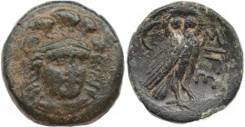 TROAS. Sigeion. Ae (355-334 BC). Obv: Helmeted head of Athena facing slightly right. Rev: ΣΙΓΕ. Owl standing right, head facing; crescent to left. SNG...