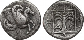 TROAS. Skepsis. Hemidrachm (4th century BC). Obv: Rhyton in the form of forepart of Pegasos right. Rev: ΣΚΗ - ΨΙ - Ω - Ν / A - K. Palm tree within lin...