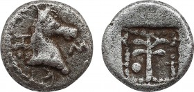 TROAS. Skepsis. Hemiobol (5th century BC). Obv: Σ - Κ - Η. Head of horse right. Rev: Fir tree within linear square border within pelleted square borde...