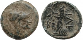 TROAS. Ilion. Ae (Circa 133-119 BC). Obv: Helmeted head of Athena right. Rev: IΛI. Athena standing left, holding spear and distaff; monogram to left. ...
