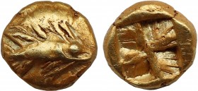 MYSIA. Kyzikos. EL 1/24 Stater (Circa 600-550 BC). Obv: Tunny right. Rev: Quadripartite incuse square. Nomisma VII 17; Hurter & Liewald III 26.1; SNG ...