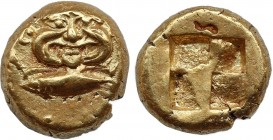 MYSIA. Kyzikos. EL Hekte (Circa 550-500 BC). Obv: Facing gorgoneion; below, tunny left. Rev: Quadripartite incuse square. Nomisma VII 129; SNG BN -; c...