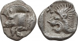 MYSIA. Kyzikos. Obol (Circa 450-400 BC). Obv: Forepart of boar left; tunny to right. Rev: Head of roaring lion left; retrograde K in upper left field....