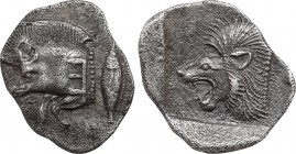 MYSIA. Kyzikos. Obol (Circa 450-400 BC). Obv: Forepart of boar left, with Ǝ on shoulder; to right, tunny upward. Rev: Head of roaring lion left within...