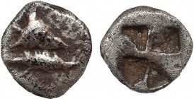 MYSIA. Kyzikos. Obol (Circa 600-550 BC). Obv: Head of tunny right. Rev: Quadripartite incuse square. Von Fritze IX 2. Rare Condition: Very fine. Weigh...