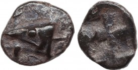 MYSIA. Kyzikos. Obol ( Circa 600-550 BC). Obv: Tunny head left over tunny. Rev: Quadripartite incuse square. Cf. SNG BN 357-9; Klein 262. Condition: V...