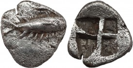 MYSIA. Kyzikos. Obol (Circa 550-530 BC). Obv: Tunny right. Rev: Quadripartite incuse square. Klein 261 var. (tunny left); Gitbud & Naumann 20, lot 203...