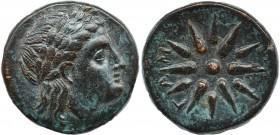 MYSIA. Gambrion. Ae (4th century BC). Obv: Laureate head of Apollo right. Rev: Γ - Α - Μ. Star of twelve rays. SNG France 908-21; SNG Copenhagen 146-9...