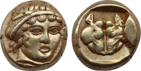 LESBOS, Mytilene. (Circa 454-428/7 BC). EL Hekte – Sixth Stater.Obv: Diademed female head facing slightly right. Rev: Confronted boars' heads within i...