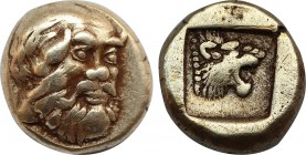Lesbos. Mytilene. (Circa 454-428/7 BC). EL Hekte. Obv: Head of Silenos, three-quarters facing to right, bald and with a full beard and a goat's ear. R...