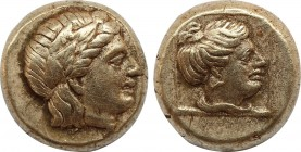 LESBOS. Mytilene. EL Hekte (Circa 377-326 BC). Obv: Laureate head of Apollo (or Dionysos?) right. Rev: Female head (Artemis?) right within linear squa...