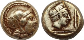 LESBOS. Mytilene. EL Hekte (Circa 412-378 BC). Obv: Helmeted head of Athena right. Rev: Head of Artemis-Kybele right, wearing stephane, within linear ...