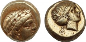 LESBOS. Mytilene. EL Hekte (Circa 377-326 BC). Obv: Laureate head of Apollo right; to left, serpent coiled right. Rev: Head of Artemis right, with hai...