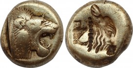 LESBOS. Mytilene. EL Hekte (Circa 521-478 BC). Obv: Head of roaring lion right. Rev: Incuse head of calf right; rectangular punch to left. Bodenstedt ...