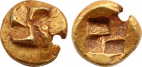 IONIA. Uncertain. Circa 625-600 BC. Hemihekte – 1/12 Stater. Phokaic standard. Raised clockwise swastika pattern. Rev. Quadripartite incuse square. Bo...