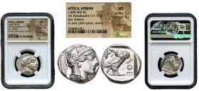 Attica. Tetradracma. 454-404 a.C. Athens. (Gc-2526). (Sng Cop-31). Anv.: Head of Athena right, wearing crested Attic helmet ornamented with three oliv...