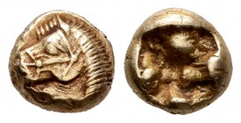 Aeolis. Kyme. 1/12 stater. 550-525 BC. (Weidauer-14). Anv.: Bridled head of horse left. Rev.: Rough incuse square. El. 1,12 g. XF. Est...300,00.   SPA...