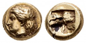 Ionia. Phokaia. Hekte. 477-388 BC. (Bodenstedt-78). Anv.: Head of female left, long hair bound behind neck and falling to shoulders. Rev.: Quadriparti...