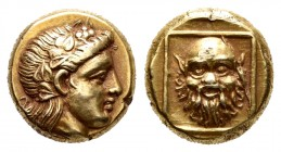 Lesbos. Mytilene. Hekte. 375-325 BC. (Bodenstedt-90). Anv.: Head of Dionysos right, wearing ivy-wreath. Rev.: Mask of Silenos facing in thin square fr...