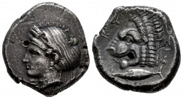 Mysia. Kyzikos. Tetradrachm. 410-439 BC. (Sng von Aulock-1217-1220). Anv.: Wreathed head of Kore Soteira left, hair in sphendone covered with a veil. ...