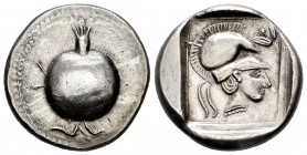Pamphylia. Side. Tetradrachm. 430-400 BC. (Sng France-627). (SNG von Aulock-4765). Anv.: Pomegranate with its stem above and flower below. Rev.: Head ...